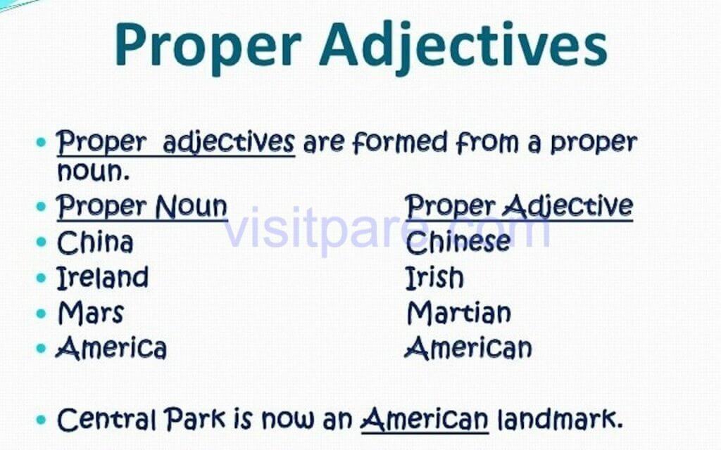 Proper Adjective (Kata Sifat Nama Diri)
